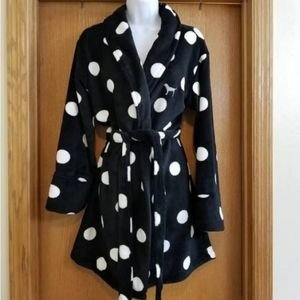 Pink Victoria Secret Robe black w/ polka dots XS/S